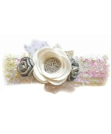 Reyas Accessories Rose Applique Sequence Headband - White & Pink
