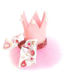 Reyas Accessories Pink Bow Crown Hair Clip - Pink & White