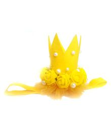Reyas Accessories Floral & Pearl Crown Headband - Yellow