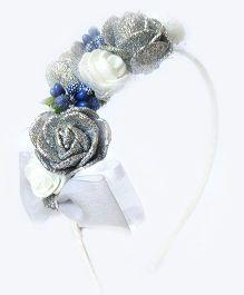 Reyas Accessories Peach & Rose Applique Hairband - White & Silver
