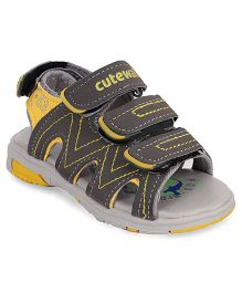 Cute Walk by Babyhug Sandals With Velcro Closure - Yellow Grey