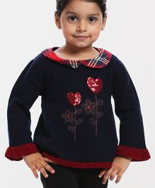 Babyhug Full Sleeves Pull Over Sweater Heart Sequin Design - Navy Blue