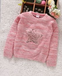 Babyhug Full Sleeves Pullover Sweater Sequin Star Design - Pink