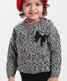 Babyhug Full Sleeves Pullover Sweater Sequin Bow Applique - Charcoal Grey & Black