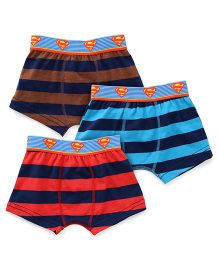 Justice League Briefs Superman & Stripes Print Pack Of 3 - Brown Blue & Red