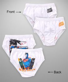 Justice League Briefs Superman & Batman Print Pack Of 2 - White Black Yellow