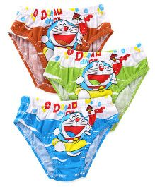 Doraemon Briefs Pack Of 3 - Blue Green Dark Orange