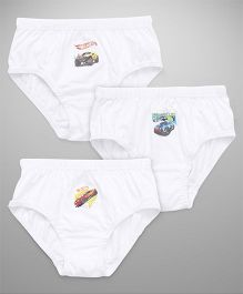Hot Wheels Printed Briefs Pack Of 3 -  White