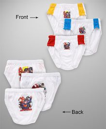 Justice League Briefs Pack Of 3 - White Yellow Blue & Red