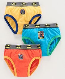 Justice League Printed Briefs Pack Of 3 - Orange Blue Yellow