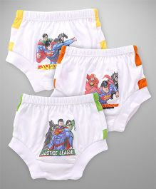 Justice League Briefs Pack Of 3 - White Yellow Orange & Green