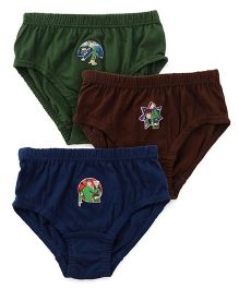 Ben 10 Briefs Solid Color Pack Of 3 - Navy Blue Brown & Dark Green