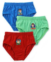 Ben 10 Briefs Solid Color Pack Of 3 - Blue Red & Light Green