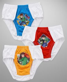 Ben 10 Dual Color Shade Printed Briefs Pack Of 3 - White Blue Red Orange