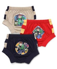 Ben 10 Briefs Printed Pack Of 3 - Beige Red Navy