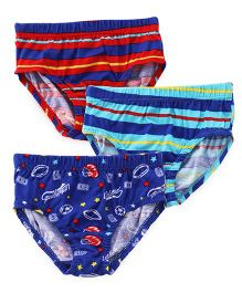 Red Rose Printed Briefs Pack of 3 - Red Blue Sea Green