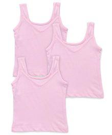 Red Rose Sleeveless Plain Slip Pack Of 3 - Pink
