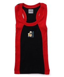 Minions Sleeveless Printed Vest With Contrast Neckline - Black & Red