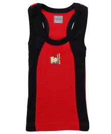 Minions Sleeveless Printed Vest With Contrast Neckline - Red & Black