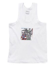 Justice League Sleeveless Printed Solid Color Vest - White