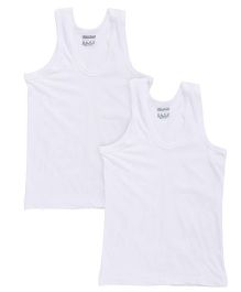 Red Rose Sleeveless Solid Color Vest - White