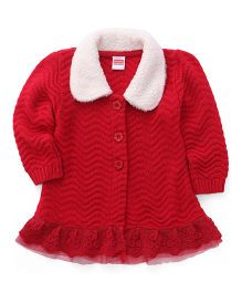 Babyhug Full Sleeves A-Line Cardigan - Red