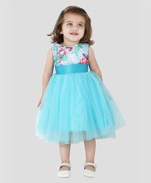 The KidShop Sequins with Flower Print Party Dress - Blue