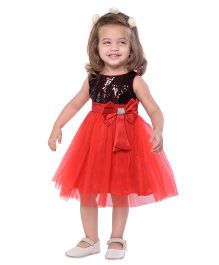 The KidShop Sequins Embellished Party Dress with Bow & Tulle - Black & Red
