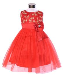 The KidShop Embroidered Party Dress - Red & Gold