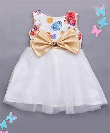 The KidShop Sequins studded Rosette Party Dress - Multi Color