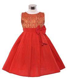 The KidShop Ethinc Indian Motif Print Dress - Red & Gold