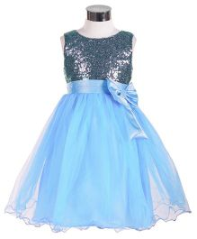 The KidShop Sequins Embellished with Net Party Dress - Grey & Blue