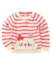 Babyhug Full Sleeves Pullover Sweater With Stripes And Kangaroo Pockets - Off White & Pink