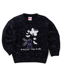Babyhug Full Sleeves Pullover Sweater With Glitter Butterflies Print - Navy