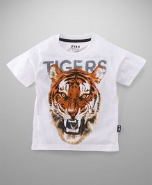 Fido Half Sleeves Tigers Print T-Shirt - White