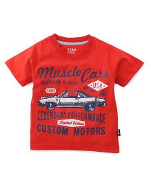 Fido Half Sleeves T-Shirt Muscle Cars Print - Red