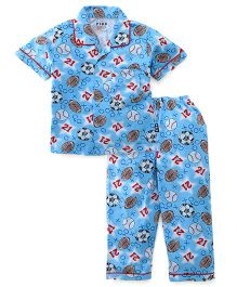 Fido Half Sleeves Night Suit Football & Rugby Print - Sky Blue