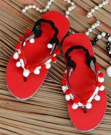 D'chica Trendy Pom Pom Flip Flop - Red