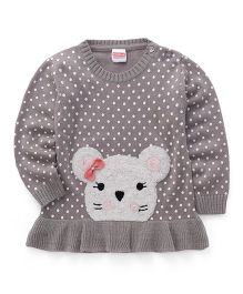 Babyhug Full Sleeves Pullover Sweater Kitty Face Patch & Dots Print - Grey
