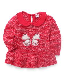 Babyhug Full Sleeves Pull Over Sweater Shoe Embroidery & Bow Applique - Red