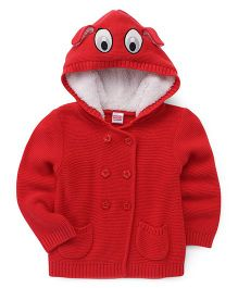 Babyhug Front Open Hooded Sweater With Pockets - Coral