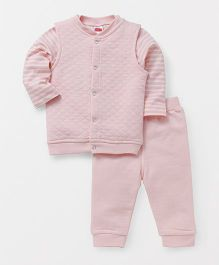 Babyhug Full Sleeves Top And Lounge Pants With Jacket - Pink