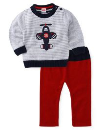 Babyhug Winter Wear T-Shirt With Airplane Patch And Pants - Grey Red