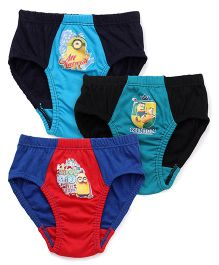 Mustang Briefs Minions Print Set Of 3 - Blue Red Black