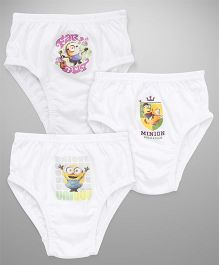 Mustang Briefs Minions Print Pack Of 3 - White