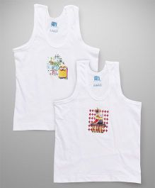 Mustang Sleeveless Vests Minions Print Pack of 2 - White