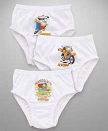 Mustang Briefs Garfield Print Pack of 3 - White