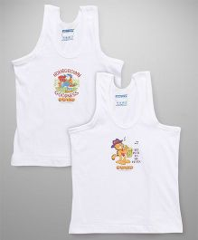 Mustang Sleeveless Vests Garfield Print Pack of 2 - White