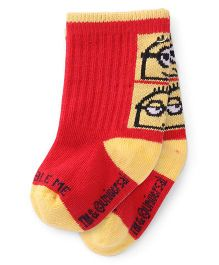 Mustang Socks Minions Design - Red Yellow
