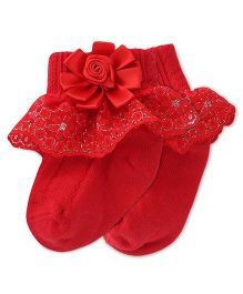 Mustang Floral Applique Socks - Red